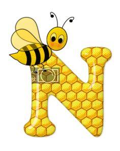 Alphabet letters bee on honeycomb. Alphabet Design, Alphabet Art, Alphabet And Numbers, Letter Symbols, Scrapbook Letters, Bee Pictures, Spelling Bee, Bee Party, Bee Crafts