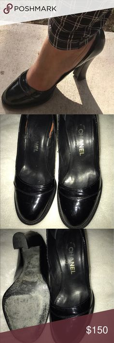 """Authentic CHANEL CC Logo Round Toed Pumps Vintage black patent leather pumps, the only flaw is the insole of one of the shoes is a little shifted but that's to be expected with wear. (See pics) Otherwise, the shoes are in great vintage condition. Has CC logo on the outside of both shoes with CHANEL written in the insole. Approximately 3.5"""" height. Shoes size says 9 but I think it'll best fit a size 8.5. No rips or stains. This shoe looks very nice on. CHANEL Shoes Heels"""