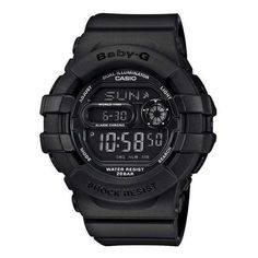 Ladies' Casio Baby-G Digital Matte Black Resin Watch ($89) ❤ liked on Polyvore featuring jewelry, watches, black wrist watch, matte watches, casio, casio watches and resin watches