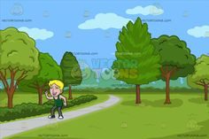 A Happy Man Laughing Aloud At A Pretty Park With Walking Path :  A man with blonde hair wearing a sleeveless green shirt gray jeans dark gray with white sneakers closes his eyes to laugh out loud. Set in a view of the park during a great day with a gray pavement used as a walkway different trees and green grass.