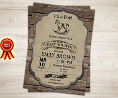Rocking Horse Baby Shower Invitation. Retro Horse by TopDigitalArt