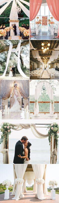 Ceremony Draping Wedding Decor Ideas from pinterest / http://www.deerpearlflowers.com/36-romantic-drapery-wedding-decorations-ideas/