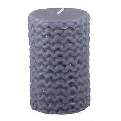 dark grey pillar candle in 'knit' design by Broste, Copenhagen