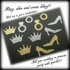 50 Bling confetti  ring shoe  crown  any color by McDermottMagic, $4.00
