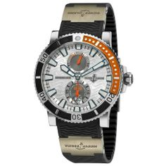 Ulysse Nardin Men's 263903/91 Maxi Marine Diver Titanium Silver Dial Titanium Watch Ulysse Nardin. $7095.00. water-resistant to 200 M (660 feet). Silver Wave Dial. Stainless Steel Case. Automatic movement. Black rubber strap