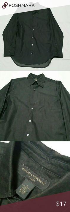 Men's Banana Republic Denim Black Button Shirt Classic Fit 100% Cotton Banana Republic Shirts Casual Button Down Shirts