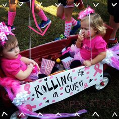 Rolling for the Cure. Susan G Komen Race for the Cure 2013. DIY toddler shirts made by me and my best friend for our girls. #komen
