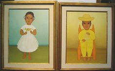 Gustavo Montoya, 2 WORKS: GIRL WITH TOY HORSE & BOY WITH TOY CAGE