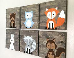 Woodland créature pépinière signes ensemble de 6 palette rustique signe 14 x 14 renard palette signe chouette signe ours signe animaux de la forêt, chambre d'enfant woodland