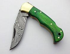 Beautifull Green Wood 6.5'' 100% Handmade Damascus Steel Folding Pocket Knife 100% Prime Quality