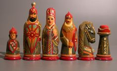 Chess set ca. middle of the 20th century. From Russia made of mixed materials and Polychromed.