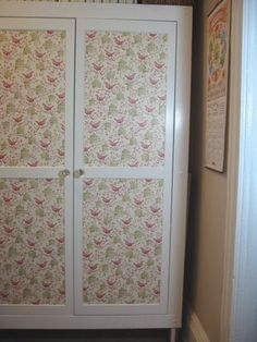 IKEA Hackers: Decoupaged wardrobe Different paper definitely but love the idea