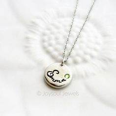 Dainty Birthstone Name Necklace  Personalized by JoysoulJewels