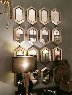Large Metal Framed 'Hive' Mirror in Champagne 170 x 103cm
