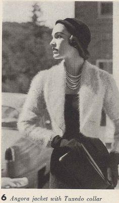 Bunny Tuxedo • 1950s Knitting Wedding Bridal Engagement Angora Cardigan Sweater • 50s Vintage Pattern • Retro Women's Knit Digital PDF by TheStarShop on Etsy