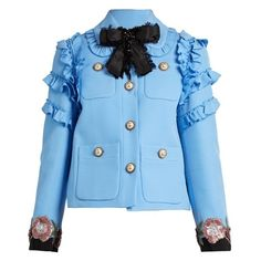 Gucci Ruffle-trimmed cotton-blend cady jacket (17769585 PYG) ❤ liked on Polyvore featuring outerwear, jackets, gucci, gucci jacket, blue floral jacket, blue sequin jacket, vintage floral jacket and floral-print bomber jackets