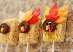 Thanksgiving Turkey Treats (With flattened and shaped Starburst candies as feathers!)