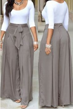 Dress pants outfits - Casual O Neck Three Quarter Sleeves Laceup Twopiece Pants Set(White Top+Silver Bottom) Twopiece Outfits Womens Clothing LovelyWholesale Wholesale Shoes,Wholesale Clothing, Cheap Clothes,Cheap Sho Latest African Fashion Dresses, African Dresses For Women, African Print Fashion, Mode Outfits, Chic Outfits, Dress Outfits, Dress Pants, Pants Outfit, Spring Outfits