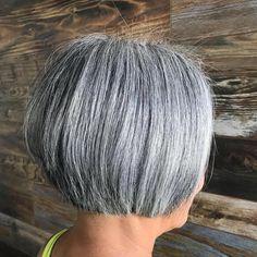 Black and Silver Straight Cut Layered Bob