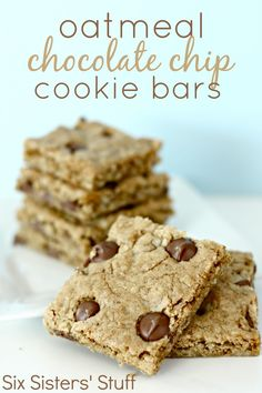 Oatmeal Chocolate Chip Cookies Bars on SixSistersStuff.com