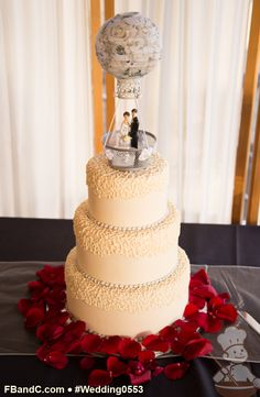 "Design W 0553 | Fondant Wedding Cake | 10""+ 8""+ 6"" 