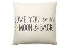 "One Kings Lane - Pillow Talk - ""To The Moon"" 20x20 Pillow, White"