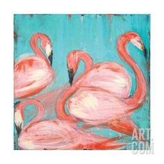 Flamingos Art Print by Melissa Lyons at Art.com