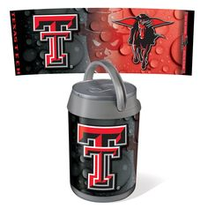 Picnic Time 691-00-000-574-0 Mini Texas Tech Red Raiders Digital Print Mini Can Cooler in Silver/Gray