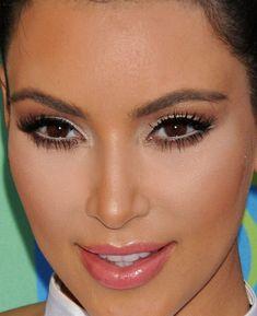 Kim Kardashian black liquid liner, nude shimmer, brown cut crease, white liner, black mascara, contoured cheeks, pink gloss #makeup #beauty #cosmetics