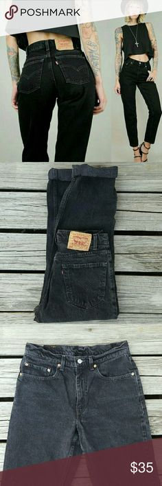 """Black Vintage Levi's 550 Jeans This listing is for a classic pair of Levi's Relaxed fit denim jeans, faded black wash. Boyfriend jeans! 8/10 condition!  No tag indicated so ABSOLUTELY make sure to refer to ALL measurements before purchasing !  Waist 15"""", rise 11"""", hip 20.5"""", inseam 29.5"""" **model in first photo is for styling inspiration only. She is wearing Levi's 550 relaxed fit, but not the same pair for sale Levi's Jeans Boyfriend"""