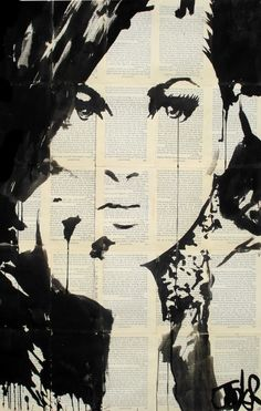 TRUTH  -  ink on vintage book pages  -  #woman #emotion #thought #painting #art