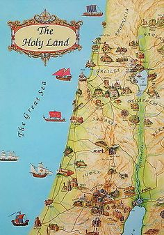 Holy Land Map 4 Placemats in Biblical Time Jesus Places, Bible Christian Sites