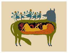 Que et menjo, Caputxeta! / Que te como, Caperucita! / I will eat you, Little Red Riding Hood! Little Red Riding, Little Red Ridding Hood, Red Riding Hood, Illustrations, Illustration Art, Charles Perrault, Serpentina, Big Bad Wolf, New Print