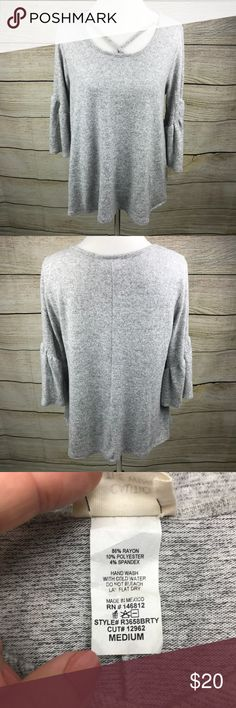 Caution to the Wind Top In like new condition. Size medium. Heathered grey. Bell sleeves. Super soft and stretchy. From TJ Maxx caution to the wind Tops