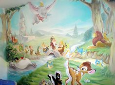 "I love that this mural is classic Disney. The Disney I grew up with that's now part of the ""Classic Collection"". Jesus, I'm only not We're not classics! Disney Wall Murals, Disney Playroom, Playroom Mural, Kids Wall Murals, Murals For Kids, Disney Nursery, Bedroom Murals, Mural Art, Baby Disney"