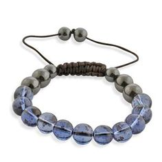 £9.99  Shamballa Friendship Blue Glass and Hematite Bracelet (Adjustable)