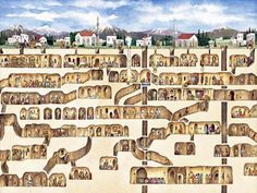 A 6500 yr old underground city (could house 20,000 people, 6000 cattle & sheep. Air shafts brought air down to 1300 ft below the earth's surface. It still 100% intact...no one knows who built this...only that it dates to around 5000BC. In southern edge of Turkey...discovered completely by accident.
