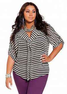 Ashley Stewart: Web Exclusive: Stripe Platter Front V-neck#curvy #plussize