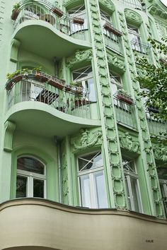 Old school ornate (Check out the curved flow of the balconies), with new school color. It's either refreshingly minty or disgusting depending on your association with the color green. It's still in the grand Berlin tradition of the controversial statement. #berlin