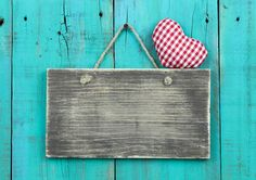 Download Blank Distressed Wood Sign With Red Checkered Heart Hanging On Rustic Antique Teal Blue Door Stock Image - Image: 43915275