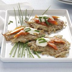 Latkes with Lox Recipe from Taste of Home  #Hanukkah