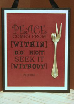 Christmas Gift...Upcycled Peace Sign...BuDDha saying...Zen office decor...Upcycled silverware art...Hippie love...Peace sayings... on Etsy, $20.00