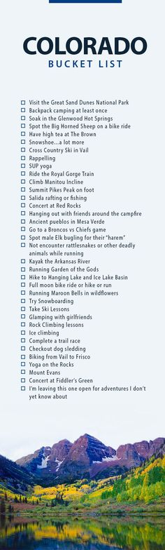 Colorado Must Do and See - A bucket list of adventurous ideas Vacation Ideas Colorado Springs, Pagosa Springs, Places To Travel, Travel Destinations, Places To Go, Moving To Colorado, Colorado Trip, Colorado University Denver, Colorado Quotes
