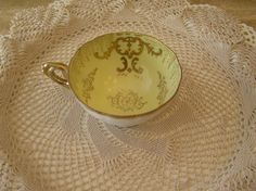 Vintage 1950's Cup  Butter Yellow with Gold by SterlingHeirloom