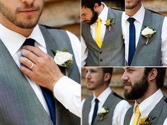 Dapper-grooms-attire-grey-formalwear-suits-yellow-navy-blue-wedding-color-palette.full