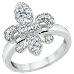 1/10ct TW Fleur di Lis Diamond Ring available at #HelzbergDiamonds