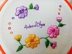 DIY Hand Embroidery: Eyelet Stitch Flowers - Step by step | Flores en Puntada Ojalillo | Artesd'Olga - YouTube