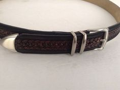 Tommy Bahama Men's Black Suede & Brown Braided Leather Belt Size 38 Spain #TommyBahama