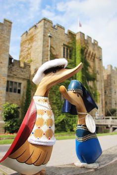 Henry and Anne stand almost as tall as the Castle! Created by DCUK, they are now available in the Hever Shop. Contact us to order via our postal service 01732 861712 | #shop #hevercastle #ducks #henryviii #anneboleyn #tudors