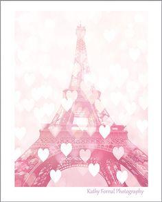 Paris Photography, Romantic Eiffel Tower, Baby Girl Nursery Decor, Paris Valentines Hearts Eiffel Tower Print, Paris In Love, Paris Pink Art